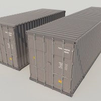 Shipping Cargo Containers Gray 3D Model