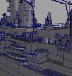 uss iowa bb 61 class 3d model battleship  [ 1597 x 1032 Pixel ]