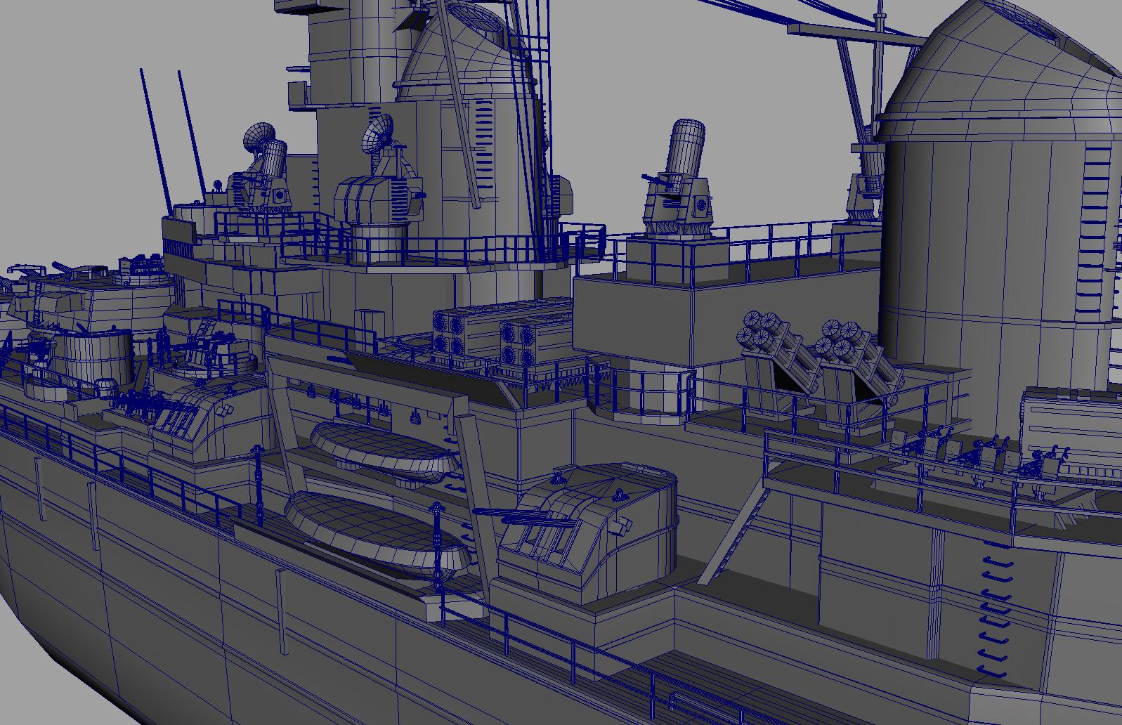 hight resolution of uss iowa bb 61 class 3d model battleship