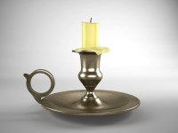 Old Brass Candlestick 3D Model - 3D Models World