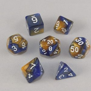 Dice Gemini Amber/Blue with White Numbers Dice