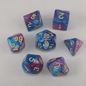 Dice Gemini Blue/Purple with Gold Numbers Dice