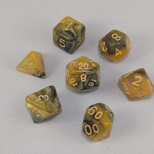 Dice Gemini Amber/Black with Gold Numbers Dice