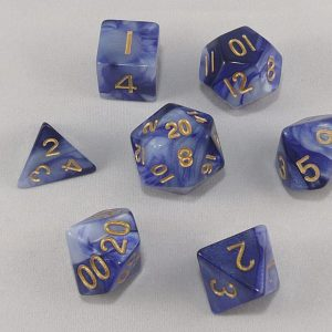 Dice Gemini Blue/White with Gold Numbers Dice
