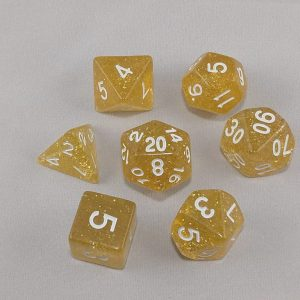 Dice Glitter Yellow Polyhedral Dice Set