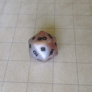 Dice White/Orange Jumbo Edged D20