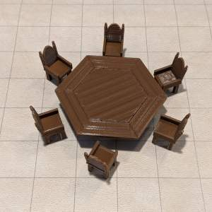Accessories Large Hexagonal Table and 6 fancy Chairs