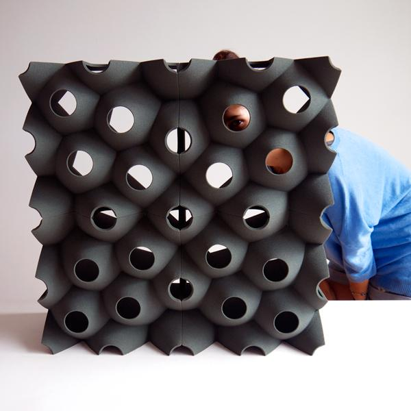 A Picoroco Block, 3D printed and used for exterior walls