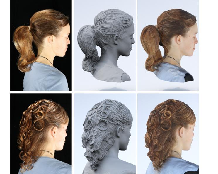 One women, two defining hair styles. (Left to right) Photo, 3D model, 3D Print