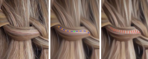 Smoothing out of the hair surface, while keeping the same basic flow and color