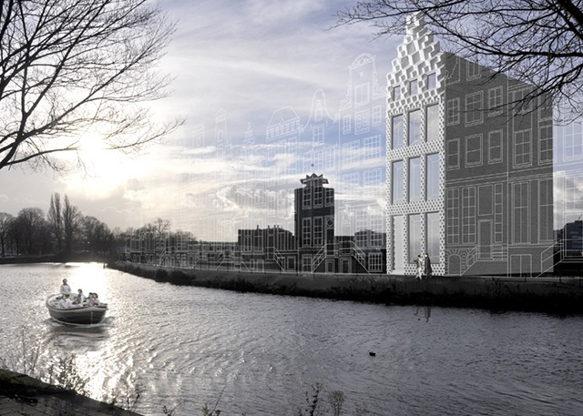 DUS Architects 3D impreso del canal casa paisaje