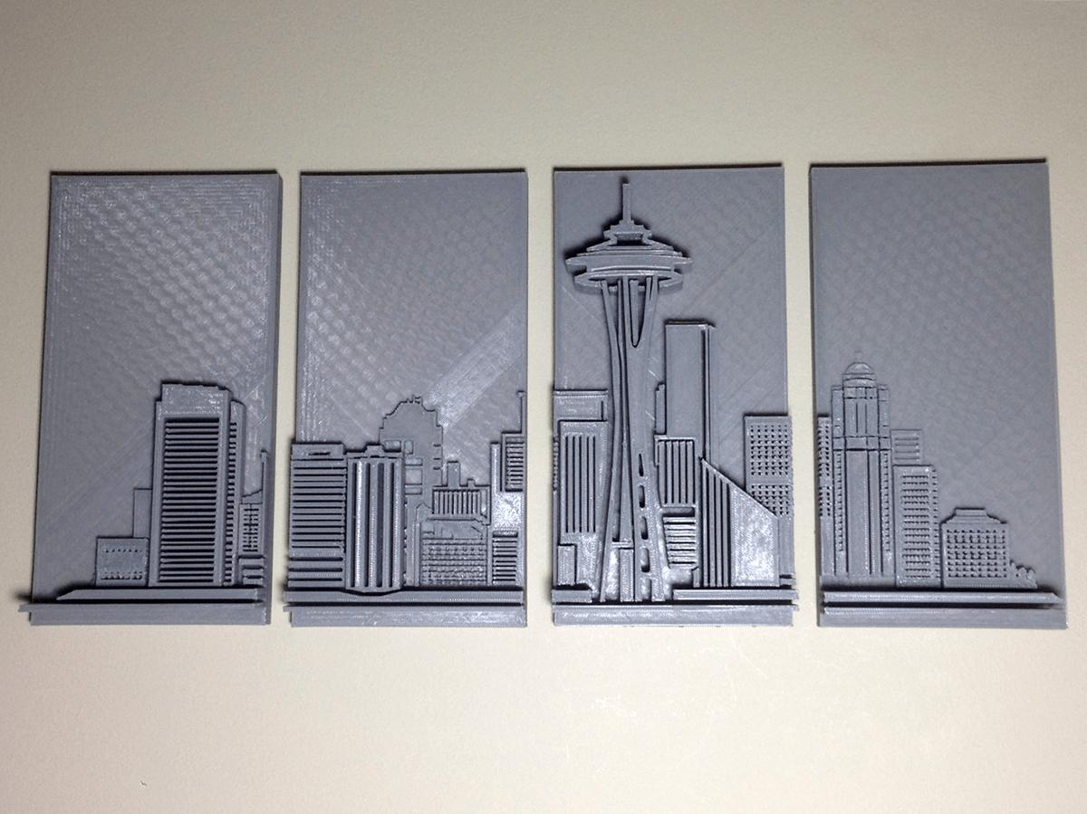 d printed seattle skyline wall art d printing industry