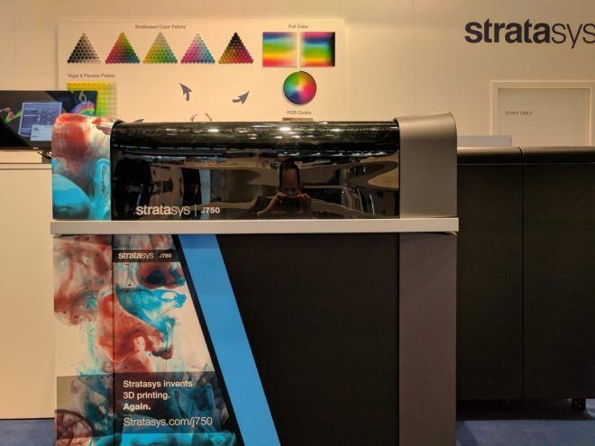 The Stratasys J750 color jet 3D printer at formnext 2017. Photo by Michael Petch