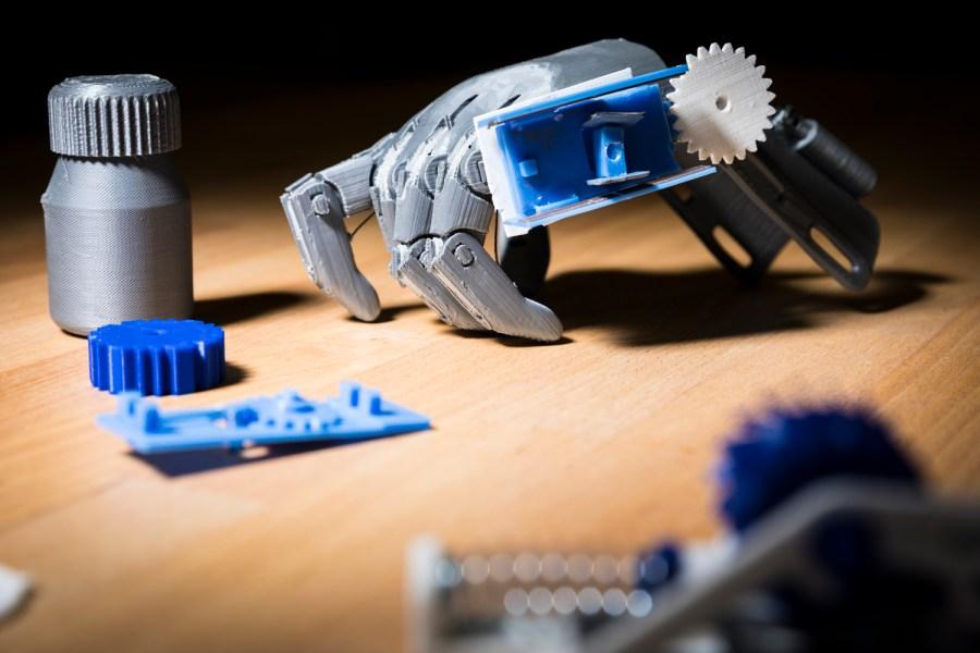A 3D printed e-NABLE prosthetic hand. Image via Mark Stone/University of Washington