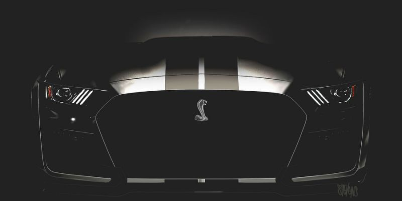 A teaser image of Ford Shelby Mustang GT500. Image via Ford