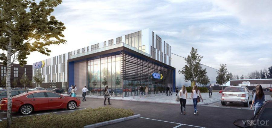 Digital render of the forthcoming Global Technology Center. Image via GKN Aerospace