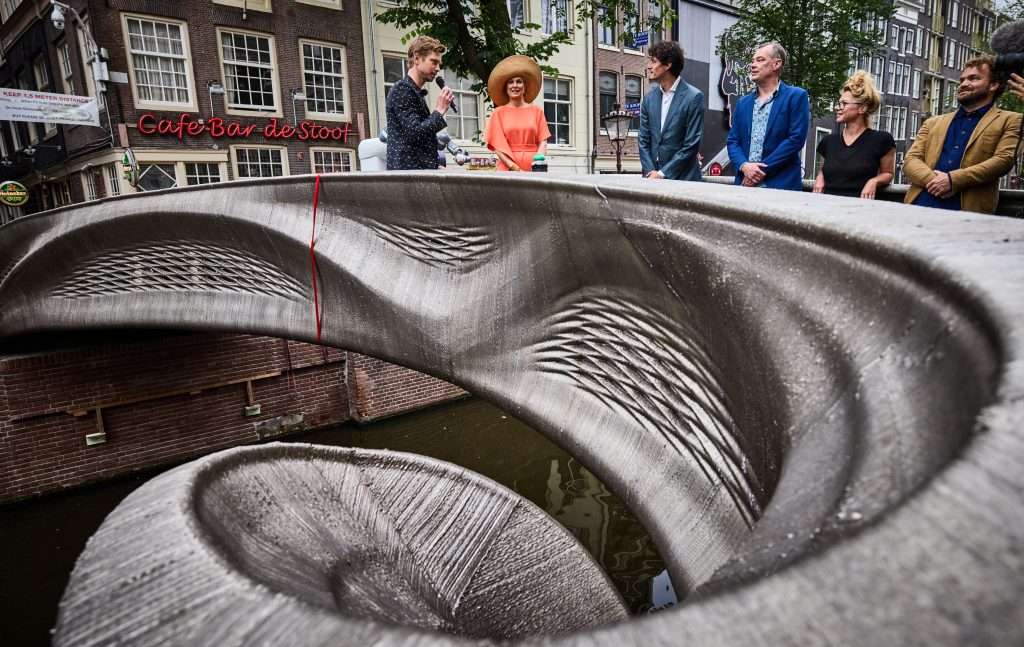 The generatively designed bridge features a network of smart sensors integrated within. Photo via Jan de Groen.