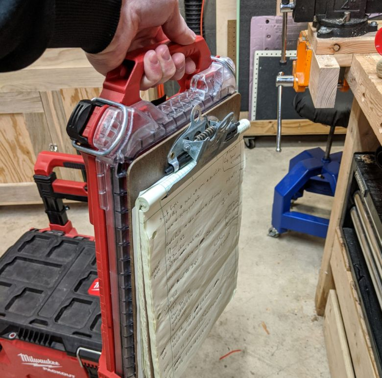 Using the Thin Foot to attach a clipboard to a Packout box.