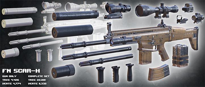 Characters Weapons Modern Firearms Hd Fn Scar