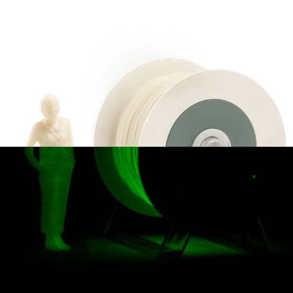 EUMAKERS PLA filament Photoluminescent Ivory White | Extra Power Green 1.75mm 1000g