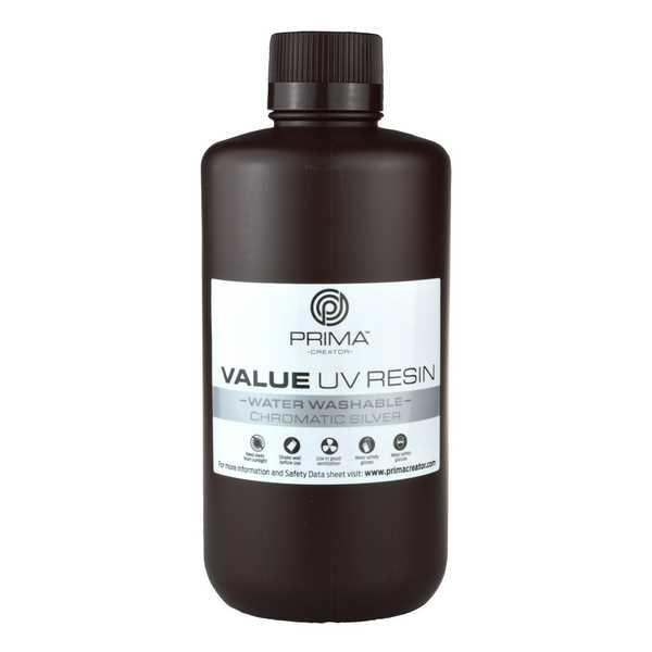 Water Washable UV DLP Resin CHROMATIC SILVER 1000ml - PrimaCreator