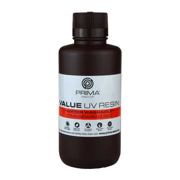 Water Washable UV DLP Resin TRANSPARENT RED 500ml - PrimaCreator