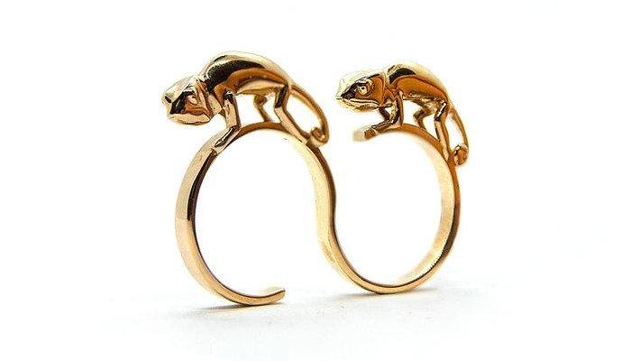 anna reikher two finger chameleon 3d printed ring