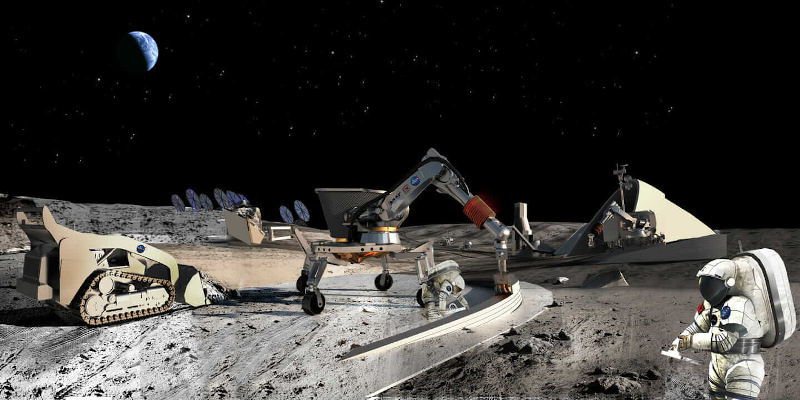 construction 3d printer printing concrete on the moon