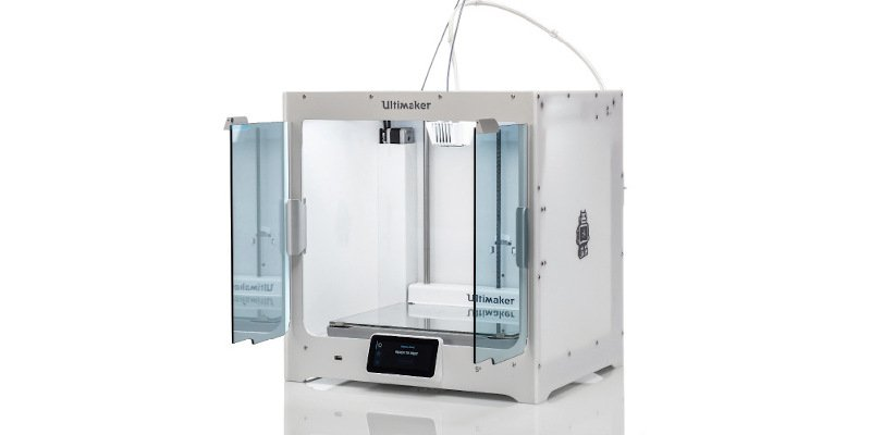 Ultimaker s5, with optional pro bundle which includes an enclosure, air filter and filament storage system