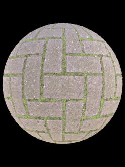 stone brick pavement floor grass