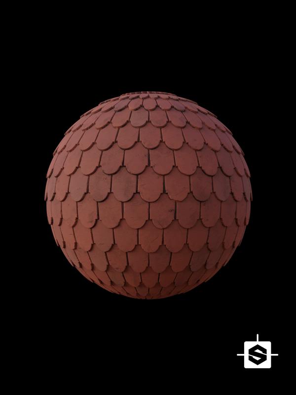 free pbr seamless shingles terracotta texture