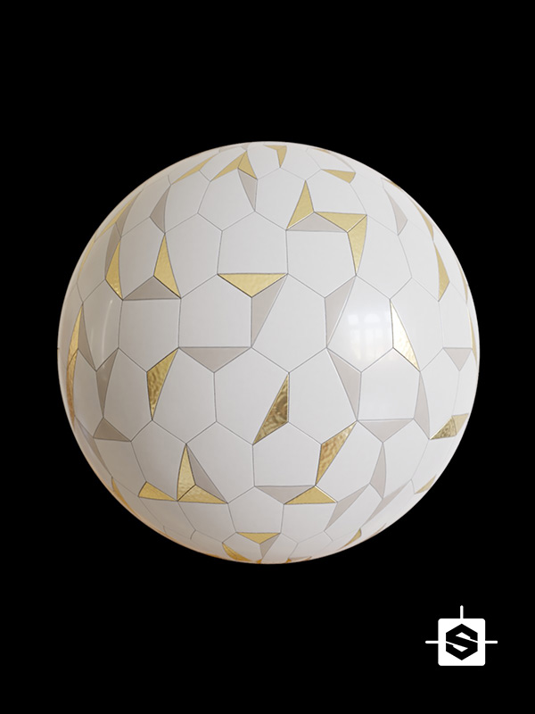 tiles ceramic pattern bathroom kitchen hexagons metal gold