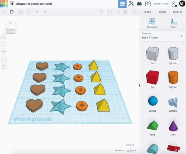 TinkerCAD Shapes for Chocolate Mold