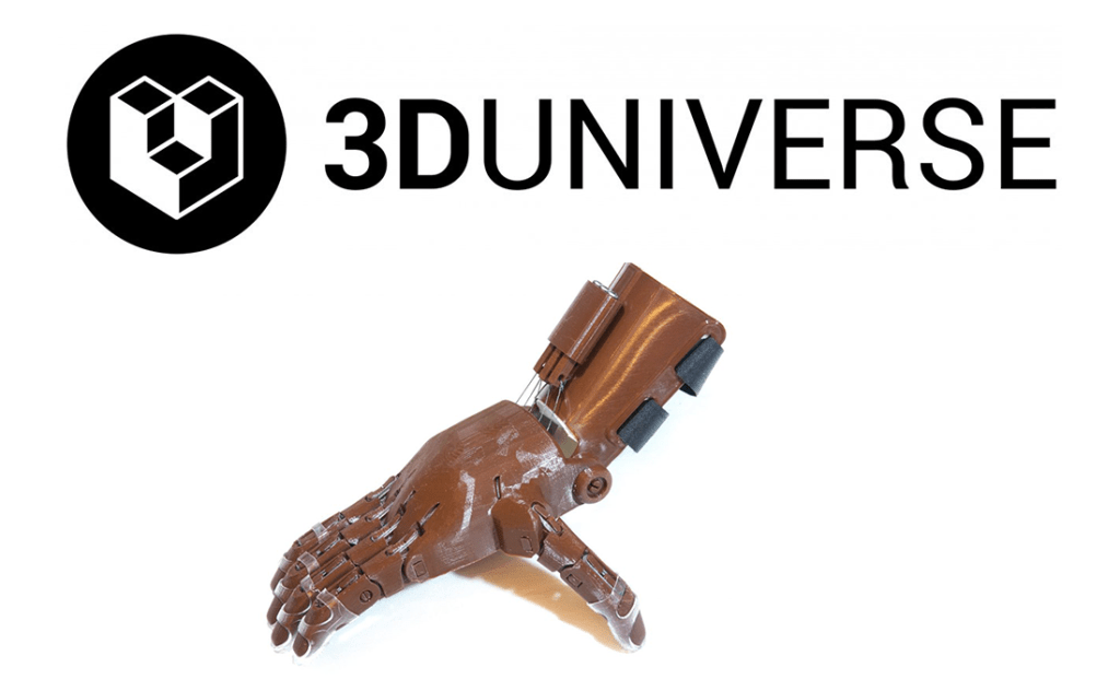 A 3D printed e-NABLE Hand created by 3D Universe