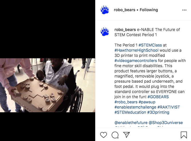 The entry for the #enableSTEMchallenge from the Robo Bears team at Hawthorne High School!