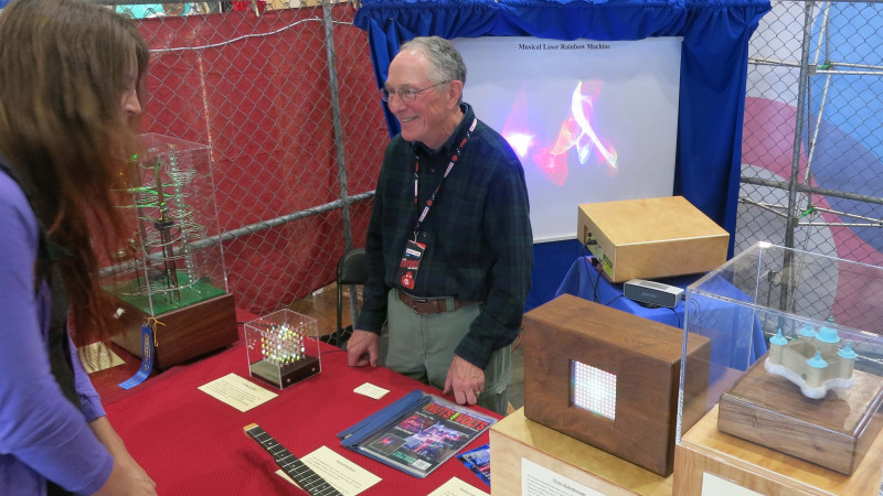 Dr Vic Chaney at the MakerFaire with his creations