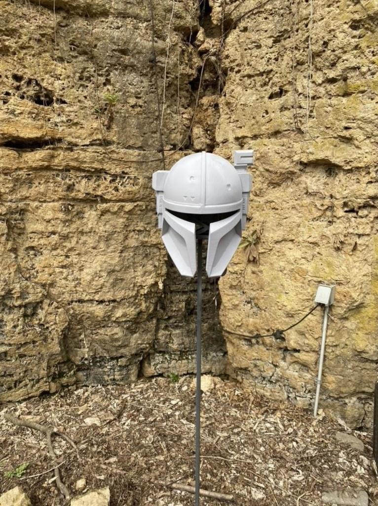 Serial Kilter 3D Printed Heavy Infantry Mandalorian Armor helmet getting painted