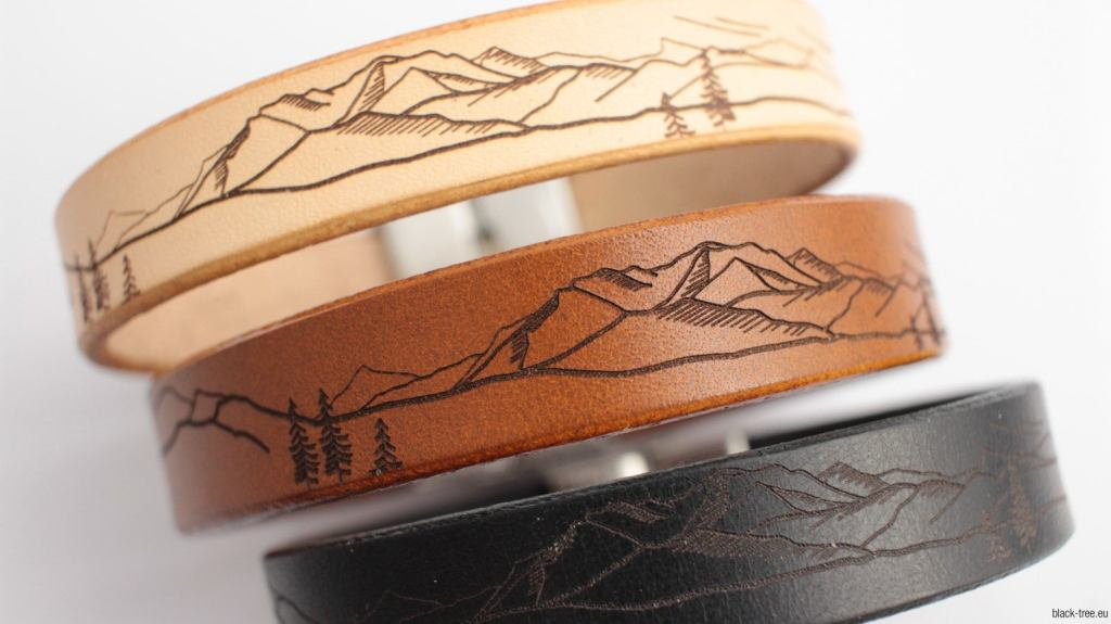 Laser etched leather jewelry