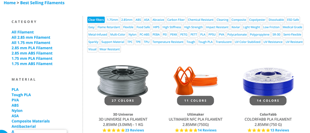 New filament finder option on the 3D Universe website