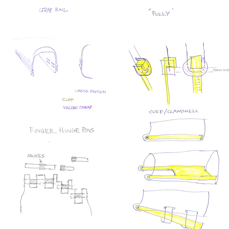 Sketches of the new e-NABLE 3d printed hand designs