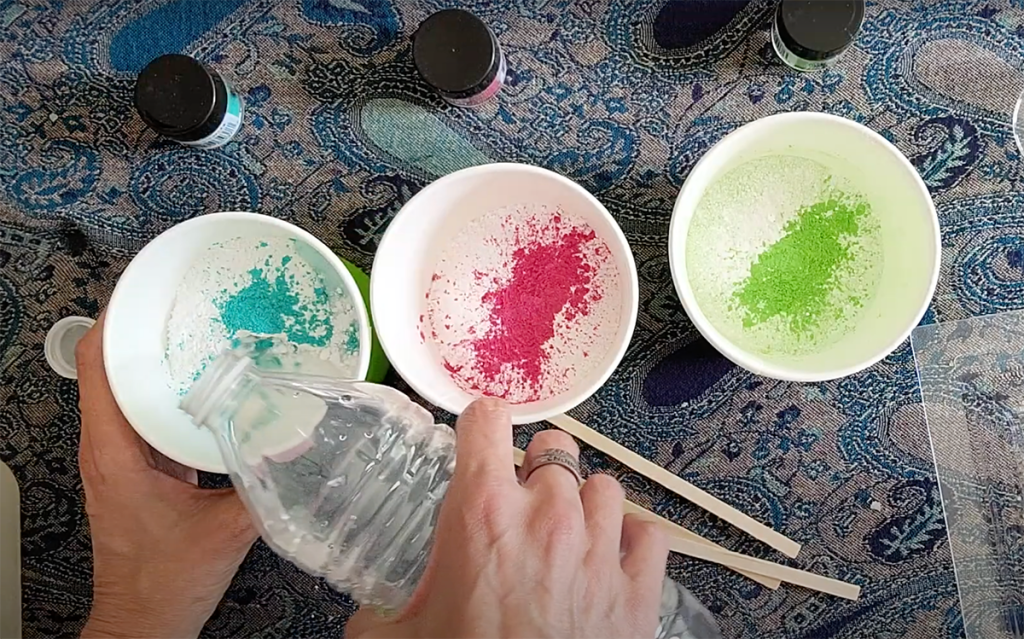 Mixing Mayku Pour Powder with colored pigments for a succulent planter