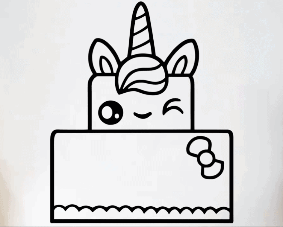 How to draw a unicorn cake