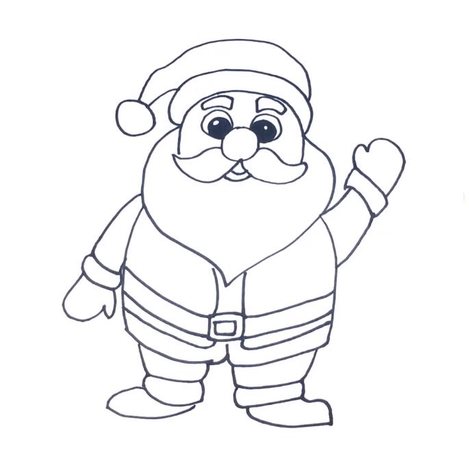 Santa Claus Drawing Without Colour 3DVKARTS
