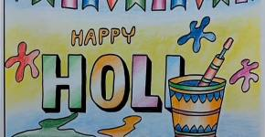 holi festival drawing