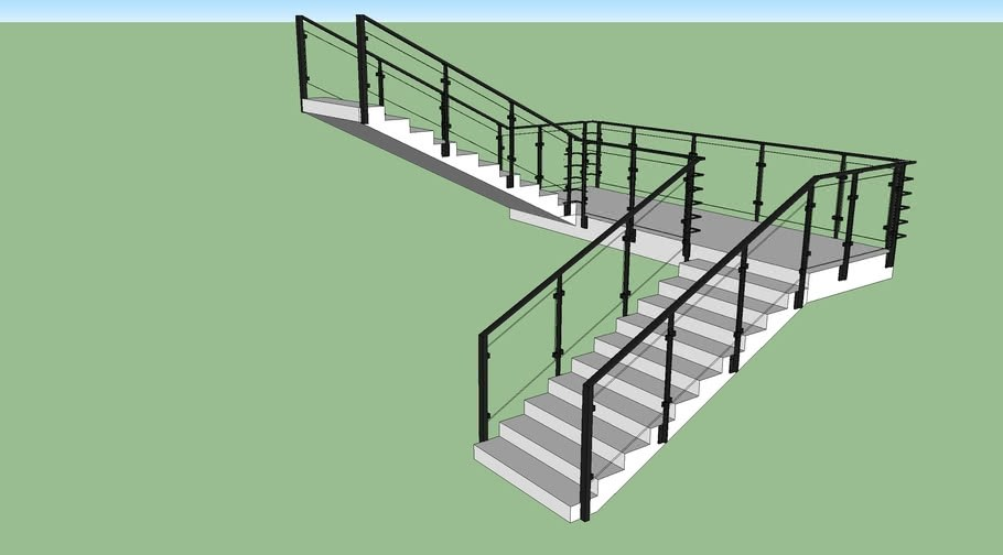 Glass Railing Stairs 3D Warehouse | Glass Handrails For Stairs | Wood | Frameless | Outside | Standoff | Residential