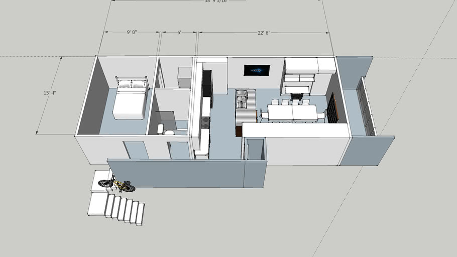Upstairs One Bedroom Apartment 3d Warehouse