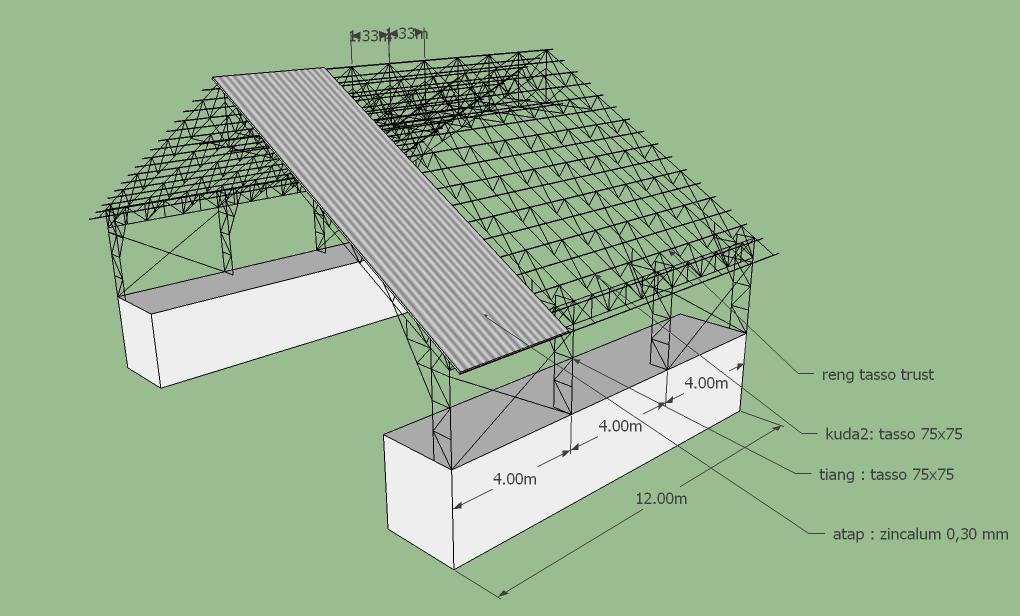 kuda baja ringan untuk gudang rangka atap 3d warehouse