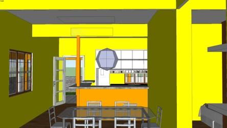 casa com dois quartos sala cozinha americana 3D Warehouse