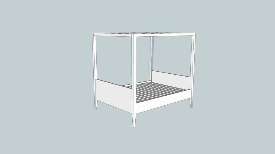 modern 4 poster queen size bed 3d