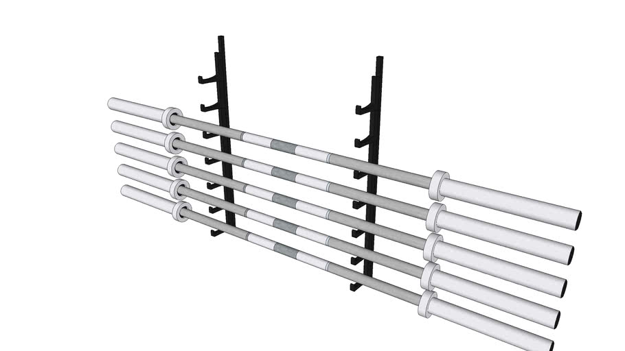 bar holder with york olympic barbells